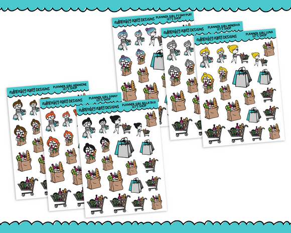 Planner Girls Character Stickers Let's Shop Planner Stickers for any Planner or Insert - Adorably Amy Designs
