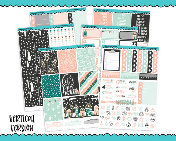 Vertical Let's Stay Home Winter Themed Planner Sticker Kit for Vertical Standard Size Planners or Inserts - Adorably Amy Designs