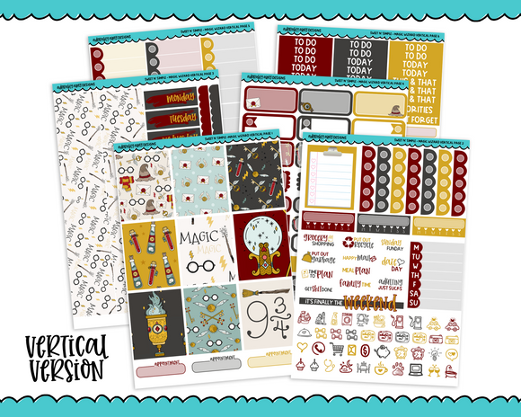 Vertical Sweet n Simple Magic Wizard Patterns Planner Sticker Kit for Vertical Standard Size Planners or Inserts - Adorably Amy Designs