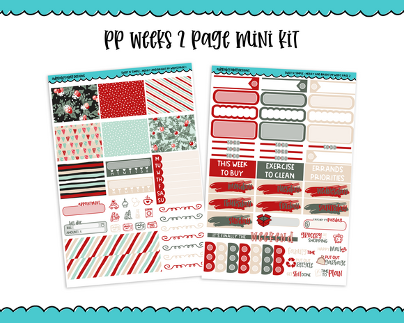 PP Weeks Sweet n Simple Merry and Bright Christmas Patterns Weekly Kit sized for PP Weeks Planner or ANY Vertical Insert - Adorably Amy Designs