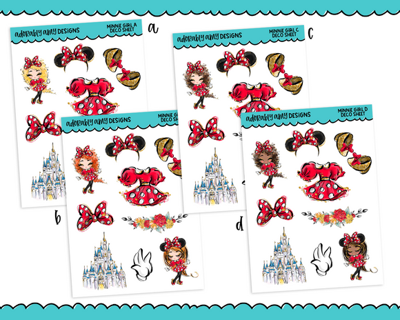 All About That Bow Minnie Decorative Planner Stickers for any Planner or Insert - Adorably Amy Designs