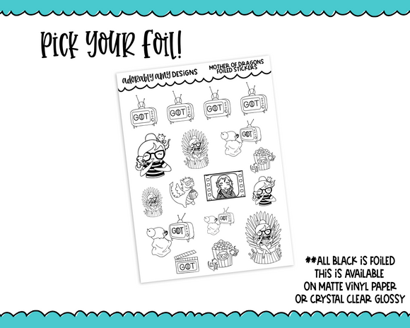 Foiled Planner Girl Myrtle Mother of Dragons Planner Stickers for any Planner or Insert - Adorably Amy Designs
