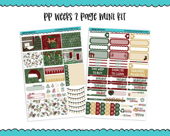 PP Weeks Old Fashioned Christmas Winter Holiday Themed Weekly Kit sized for PP Weeks Planner or ANY Vertical Insert