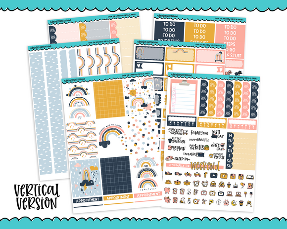Vertical Over the Rainbow Planner Sticker Kit for Vertical Standard Size Planners or Inserts