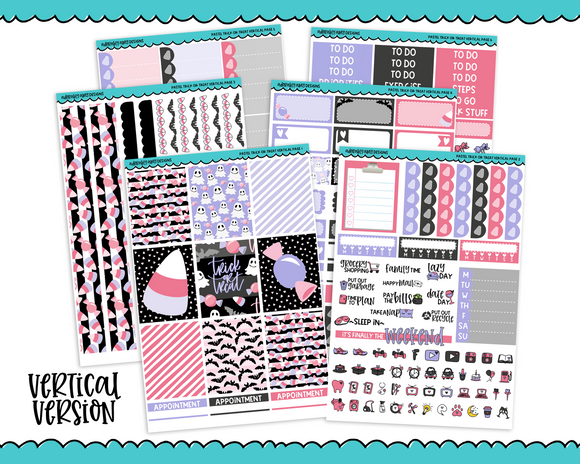 Vertical Pastel Trick or Treat Halloween Themed Planner Sticker Kit for Vertical Standard Size Planners or Inserts