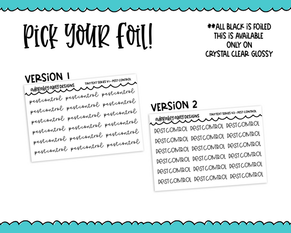 Foiled Tiny Text Series -   Pest Control Checklist Size Planner Stickers for any Planner or Insert
