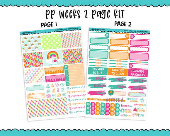PP Weeks Sweet n Simple Pot of Gold Patterns Weekly Kit sized for PP Weeks Planner or ANY Vertical Insert - Adorably Amy Designs