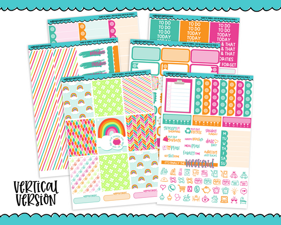 Vertical Sweet n Simple Pot of Gold Patterns Planner Sticker Kit for Erin Condren, Happy Planner or Any Other Planner - Adorably Amy Designs