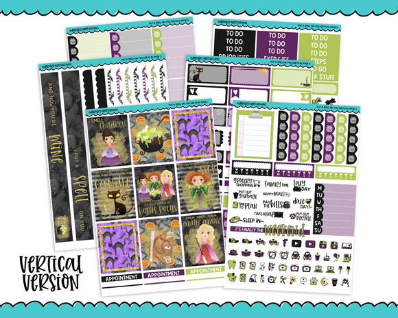 Vertical Put a Spell on You Sanderson Sisters Hocus Pocus Halloween Themed Planner Sticker Kit for Vertical Standard Size Planners or Inserts