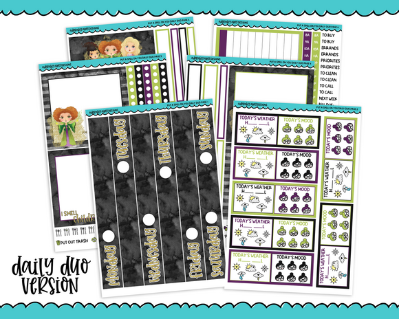 Daily Duo Put a Spell on You Sanderson Sisters Themed Weekly Planner Sticker Kit for Daily Duo Planner