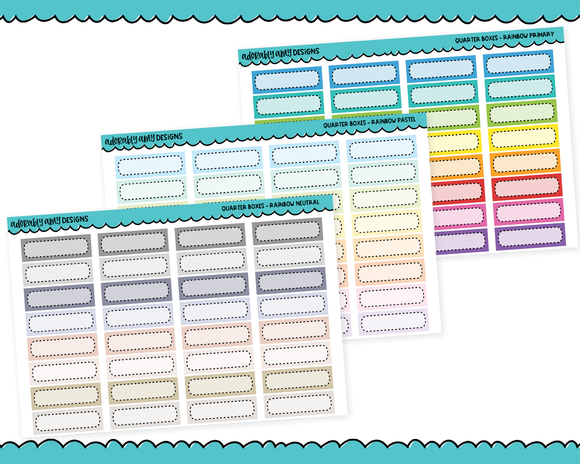 Rainbow Quarter Box Reminder Planner Stickers for any Planner or Insert