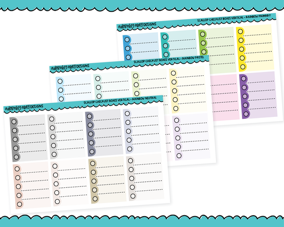 Rainbow Scallop Checklist Full Box Stickers Planner Stickers for any Planner or Insert