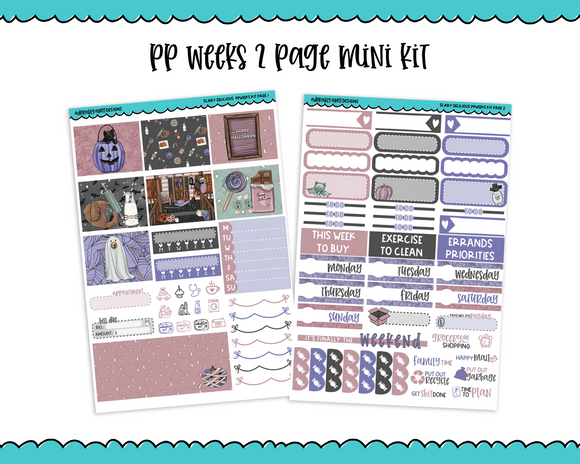 PP Weeks Scary Delicious Pastel Soft Colors Home Style Hand Drawn Halloween Weekly Kit sized for PP Weeks Planner or ANY Vertical Insert - Adorably Amy Designs
