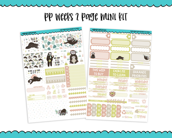 PP Weeks Sleep More Sloth Weekly Kit sized for PP Weeks Planner or ANY Vertical Insert