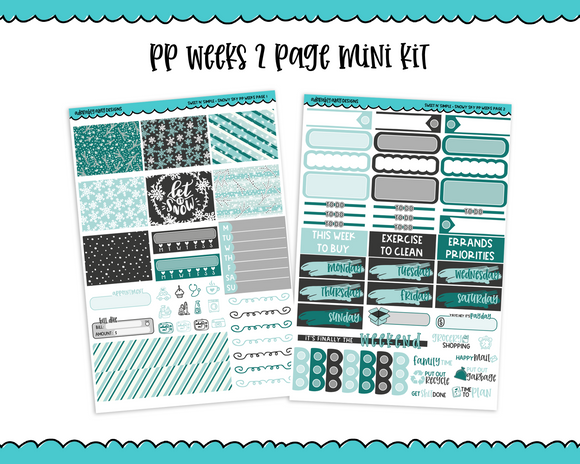 PP Weeks Sweet n Simple Snowy Sky Snow and Winter Patterns Weekly Kit sized for PP Weeks Planner or ANY Vertical Insert - Adorably Amy Designs