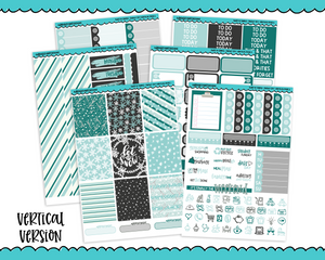Vertical Sweet n Simple Snowy Sky Snow and Winter Patterns Planner Sticker Kit for Vertical Standard Size Planners or Inserts - Adorably Amy Designs