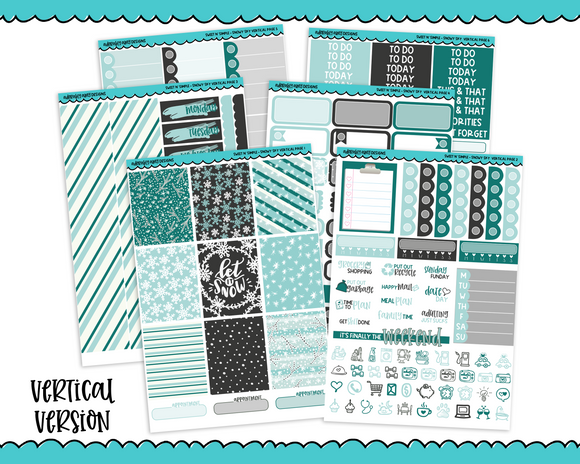 Vertical Sweet n Simple Snowy Sky Snow and Winter Patterns Planner Sticker Kit for Erin Condren, Happy Planner or Any Other Planner - Adorably Amy Designs
