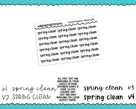 Foiled Tiny Text Series - Spring Clean Checklist Size Planner Stickers for any Planner or Insert