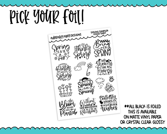 Foiled Spring Sampler Quotes & Doodles Planner Stickers for any Planner or Insert