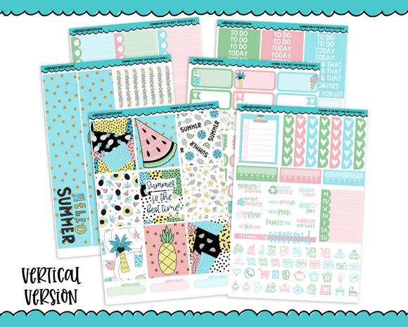 Vertical Summer is the Best Time Summer Pastel Themed Planner Sticker Kit for Vertical Standard Size Planners or Inserts - Adorably Amy Designs