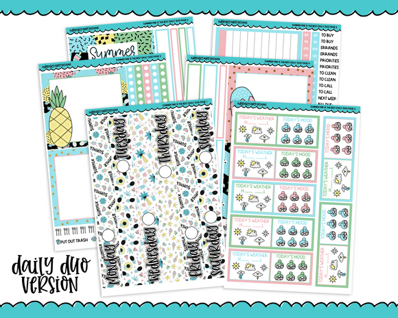 Daily Duo Summertime is the Best Pastel and Summer Themed Weekly Planner Sticker Kit for Daily Duo Planner - Adorably Amy Designs