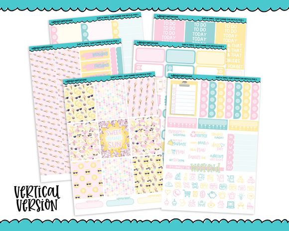 Vertical Sweet n Simple Sweet Summer Patterns Planner Sticker Kit for Vertical Standard Size Planners or Inserts - Adorably Amy Designs