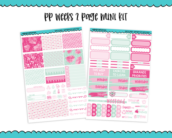 PP Weeks Sweet n Simple Sweethearts Valentine Love Pastel Patterns Weekly Kit sized for PP Weeks Planner or ANY Vertical Insert - Adorably Amy Designs