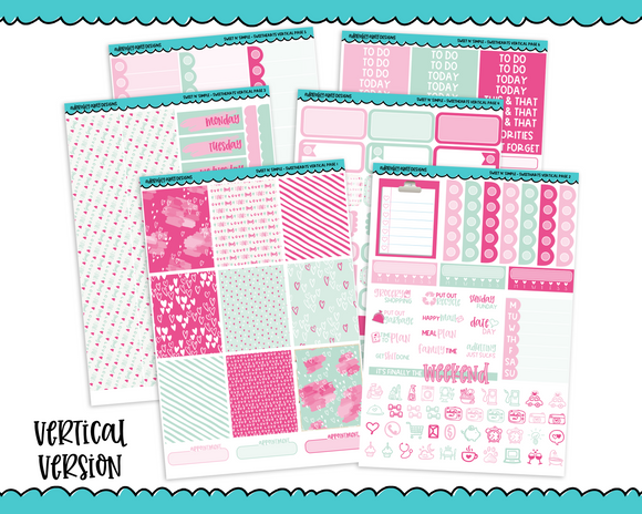 Vertical Sweet n Simple Sweethearts Pastel Valentine and Love Patterns Planner Sticker Kit for Erin Condren, Happy Planner or Any Other Planner - Adorably Amy Designs