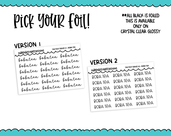 Foiled Tiny Text Series - Boba Tea Checklist Size Planner Stickers for any Planner or Insert