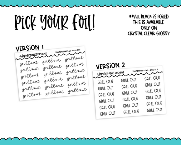 Foiled Tiny Text Series - Grill Out Checklist Size Planner Stickers for any Planner or Insert - Adorably Amy Designs