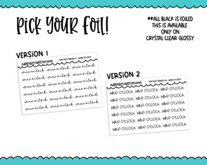 Foiled Tiny Text Series - Wine O'Clock Checklist Size Planner Stickers for any Planner or Insert