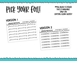 Foiled Tiny Text Series - Zoom Meeting Checklist Size Planner Stickers for any Planner or Insert - Adorably Amy Designs