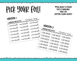 Foiled Tiny Text Series - Car Wash Checklist Size Planner Stickers for any Planner or Insert - Adorably Amy Designs