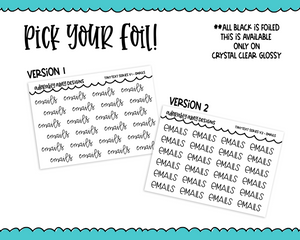 Foiled Tiny Text Series - Email Checklist Size Planner Stickers for any Planner or Insert
