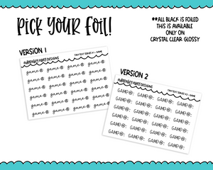 Foiled Tiny Text Series -  Game Checklist Size Planner Stickers for any Planner or Insert