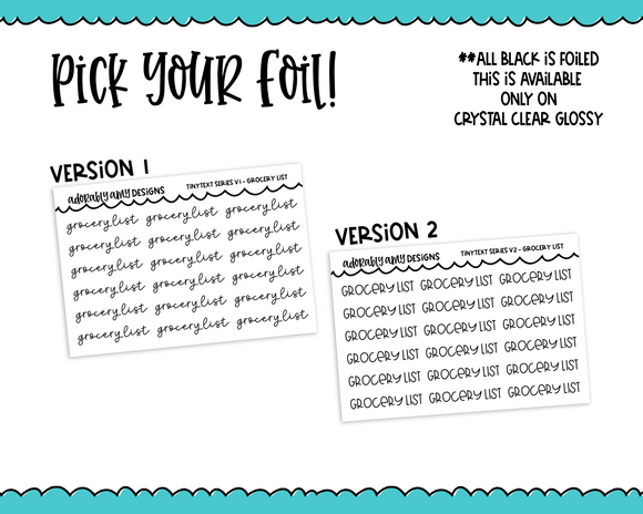 Foiled Tiny Text Series - Grocery List Checklist Size Planner Stickers for any Planner or Insert