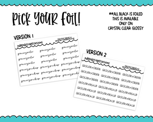 Foiled Tiny Text Series - Grocery Order/Pickup Checklist Size Planner Stickers for any Planner or Insert - Adorably Amy Designs