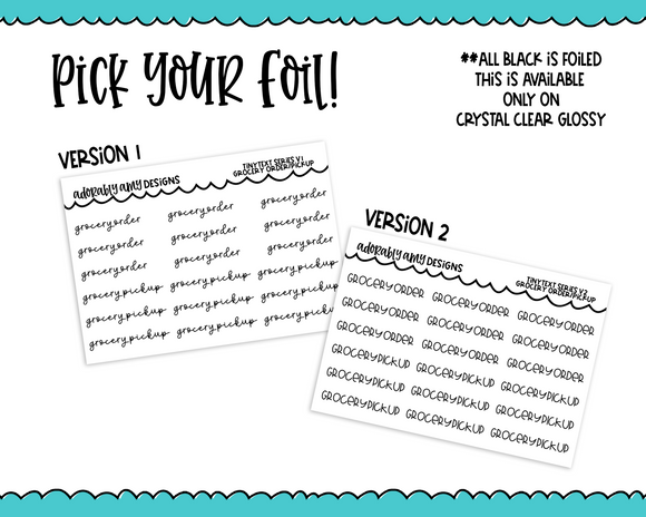 Foiled Tiny Text Series - Grocery Order/Pickup Checklist Size Planner Stickers for any Planner or Insert