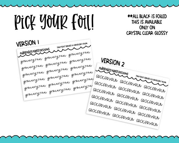 Foiled Tiny Text Series - Grocery Run Checklist Size Planner Stickers for any Planner or Insert - Adorably Amy Designs
