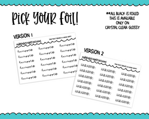 Foiled Tiny Text Series - Hair Appointment Checklist Size Planner Stickers for any Planner or Insert - Adorably Amy Designs