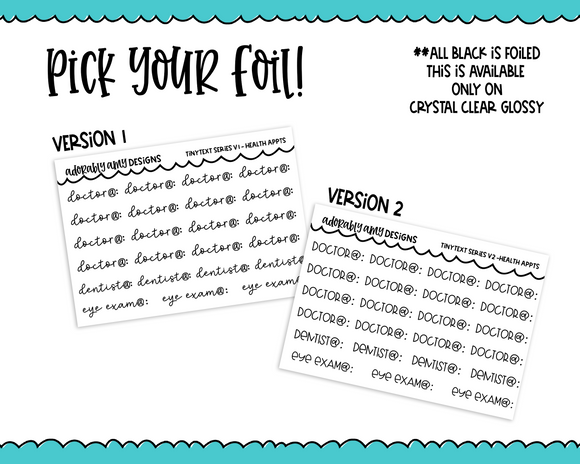 Foiled Tiny Text Series - Health Appointments Checklist Size Planner Stickers for any Planner or Insert