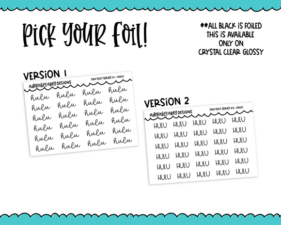 Foiled Tiny Text Series - Hulu Checklist Size Planner Stickers for any Planner or Insert