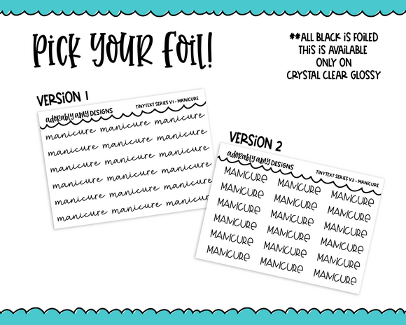 Foiled Tiny Text Series - Manicure Checklist Size Planner Stickers for any Planner or Insert