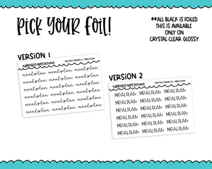 Foiled Tiny Text Series - Meal Plan Checklist Size Planner Stickers for any Planner or Insert