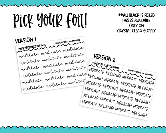 Foiled Tiny Text Series -   Meditate Checklist Size Planner Stickers for any Planner or Insert - Adorably Amy Designs