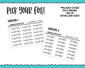 Foiled Tiny Text Series -  Pay Bills Checklist Size Planner Stickers for any Planner or Insert - Adorably Amy Designs
