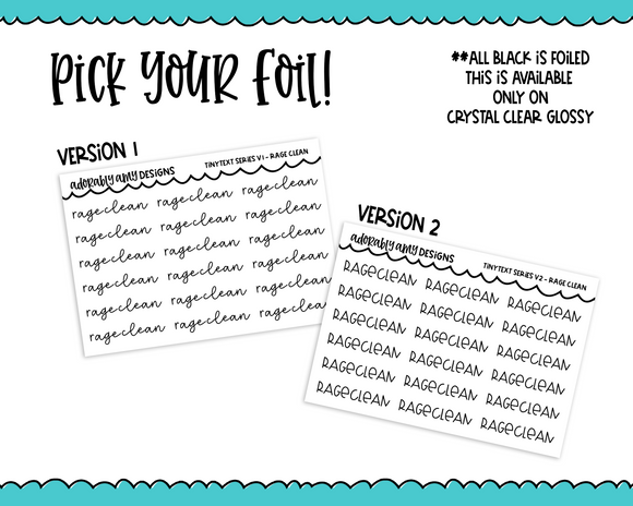 Foiled Tiny Text Series -  Rage Clean Checklist Size Planner Stickers for any Planner or Insert