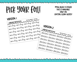 Foiled Tiny Text Series -  Spa Day Checklist Size Planner Stickers for any Planner or Insert