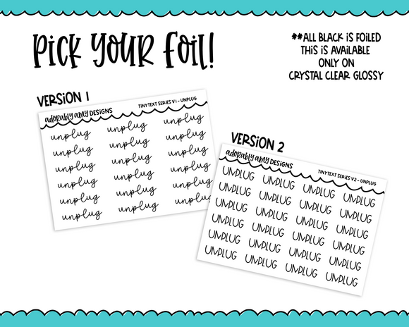 Foiled Tiny Text Series -  Unplug Checklist Size Planner Stickers for any Planner or Insert - Adorably Amy Designs