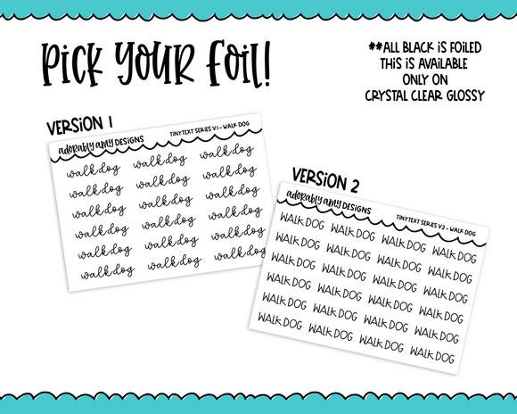 Foiled Tiny Text Series - Walk Dog Checklist Size Planner Stickers for any Planner or Insert - Adorably Amy Designs